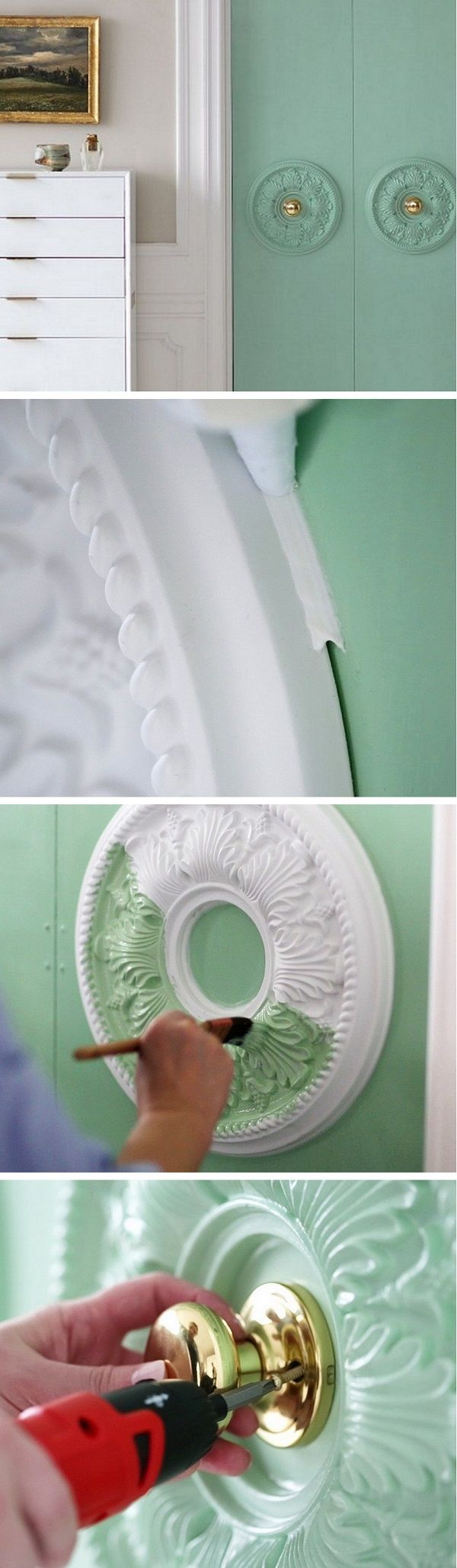 Check out the tutorial how to make DIY door embellishments with ceiling medallions @istandarddesign