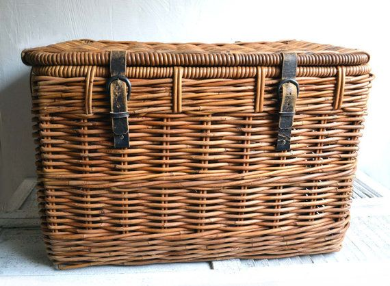 $180.00  Large Vintage Steamer Trunk French Rustic Storage Chest Wicker Linen Laundry Basket