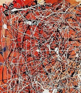 expressionnism abstrait ン detail art of . american jackson pollock (cody, wyoming I9I2 † springs, ny I956) a réalisé plus de 700 œuvres, peintures achevées, essais peints ou sculptés et dessins ainsi que quelques gravures/ abstract tachisme peinture painting palette rouge blanc noir red white black