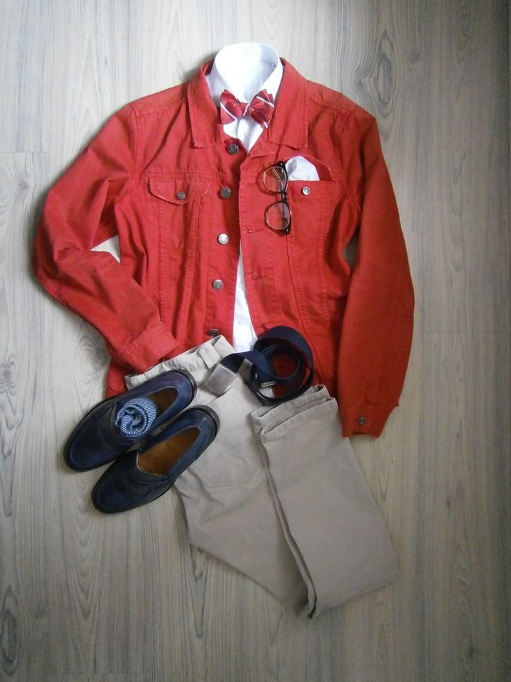 red jeans jacket / beige chinos / white long arm shirt / blue loafers / blue white striped socks / red striped bowtie / white cotton handkerchief / blue cotton belt