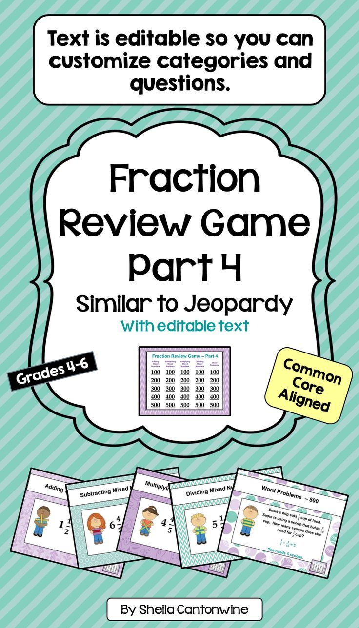 Fraction Review Game Part 4  Similar To Jeopardy