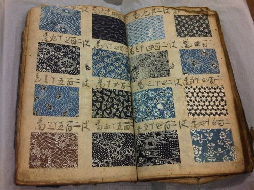 printsandthings:    A Japanese pattern book , dating from the early - mid 19th century , cataloguing all the different stencil patterns that could be printed onto fabric to make into a kimono Ashmolean Museum , Oxford