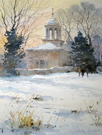 David Howell - This watercolour was painted to raise funds for the repair of the cupola on Brandsby church in North Yorkshire. The architecture of 'All Saints' Brandsby is highly unusual for a village church in Yorkshire but time and weather has taken its toll and repairs are urgently needed.