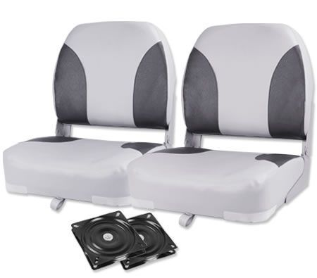 Father's Day Gift Ideas - Weather Resistant Swivel Boat Seats - Set of 2 Grey/Charoal