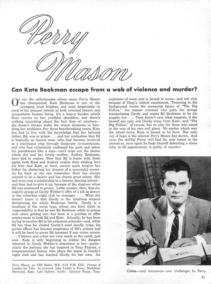 Perry Mason Radio Show. John Larkin as Perry Mason.  From Radio-TV Mirror, February 1954.  From the Jim Davidson Collection.