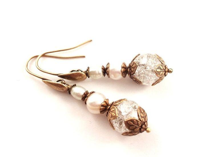 Ohrhänger - *Vintage-Kristall* Ohrringe in Bronze-Weiss - ein Designerstück von -nicita- bei DaWanda