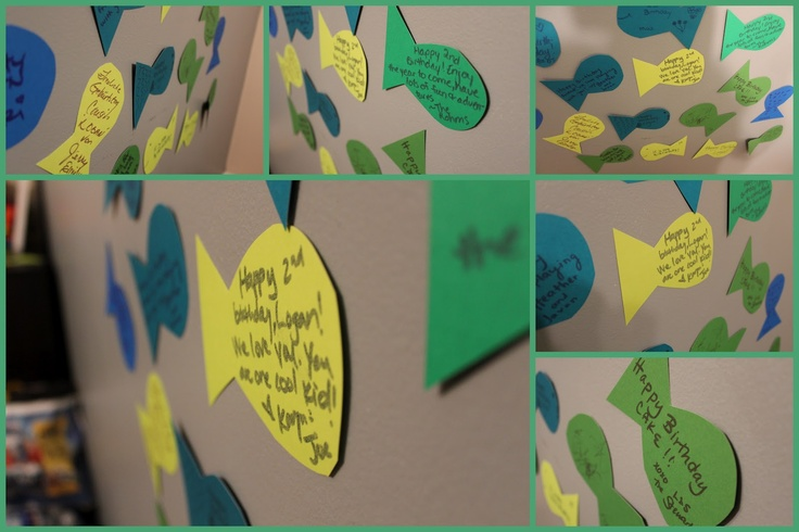 """Fishy Notes -at Little Man's under the sea party I had everyone write notes to him on paper fish and then tape them on the wall.  It made a great background for the """"cake moment"""""""