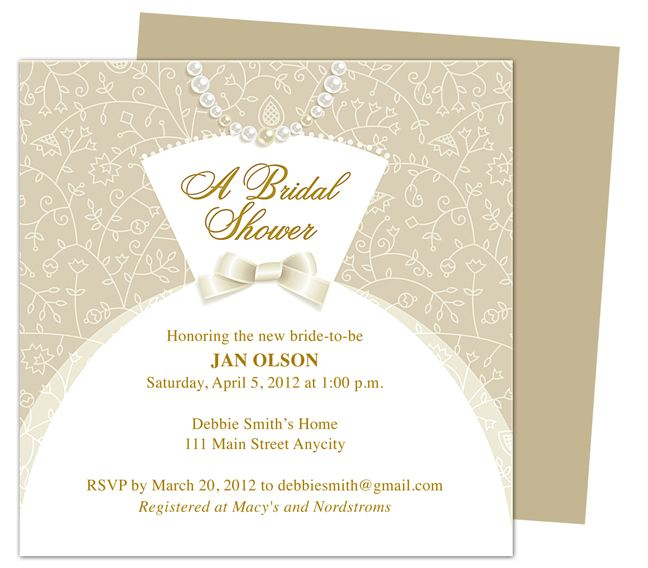 Dress Bridal Shower Invitation Templates. Printable, DIY template editable with Word, Publisher, Apple iWork Pages, OpenOffice. Wedding Invitations template.