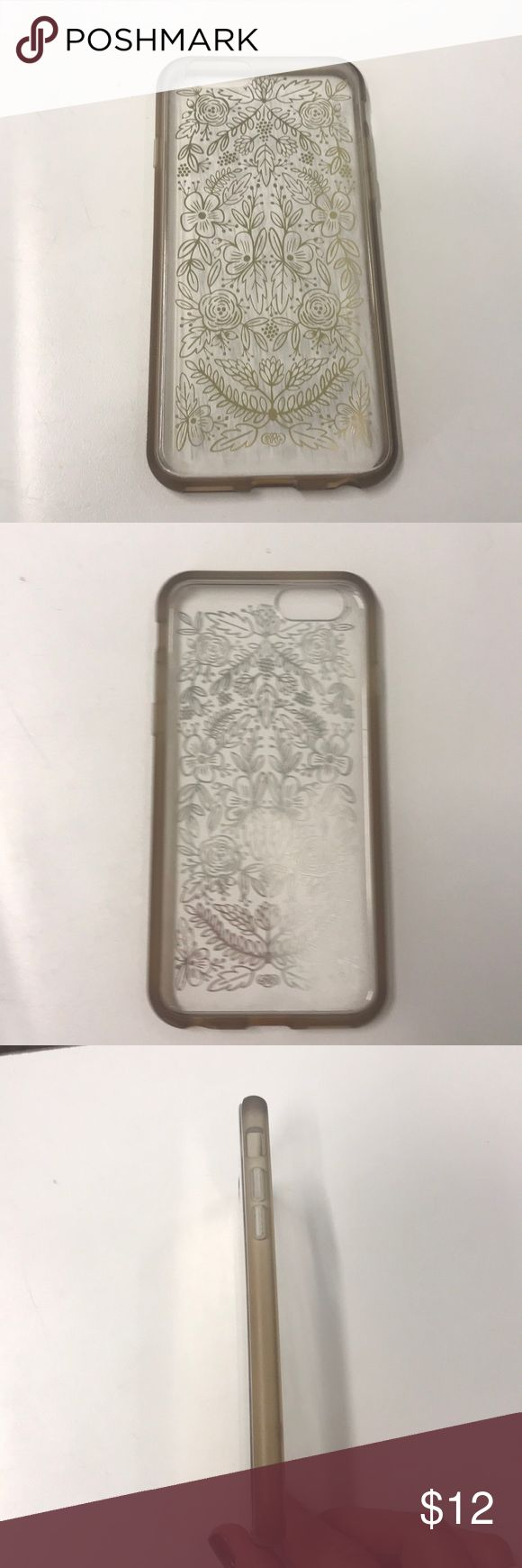 Rifle Paper Company IPhone 6 Clear Case EUC! Only used briefly because it was the wrong size for my daughter's phone. Clear with gold floral lace pattern and gold sides. Accessories Phone Cases