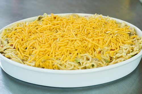 Chicken Spaghetti, replace mushroom soup with cream of chicken soup for those of us anti-mushroom people.