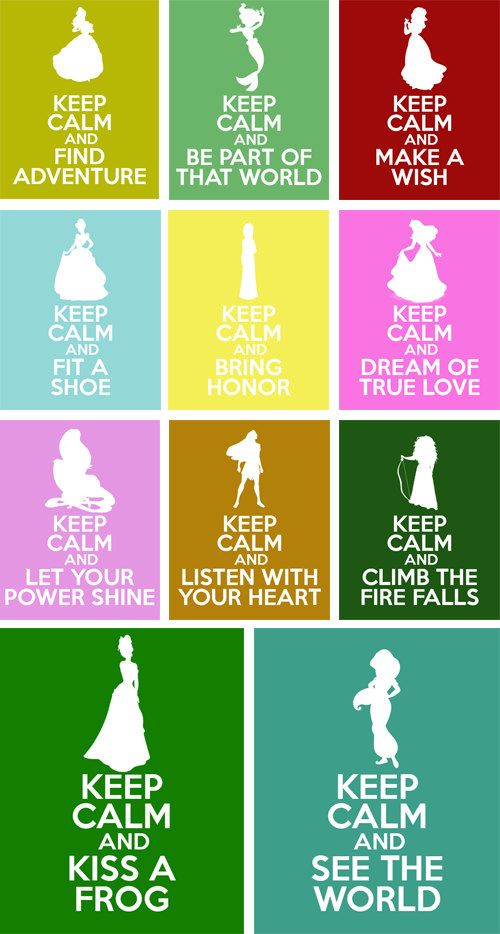 Disney Princesses Keep Calm 8x10 Poster Prints on Etsy, $12.00