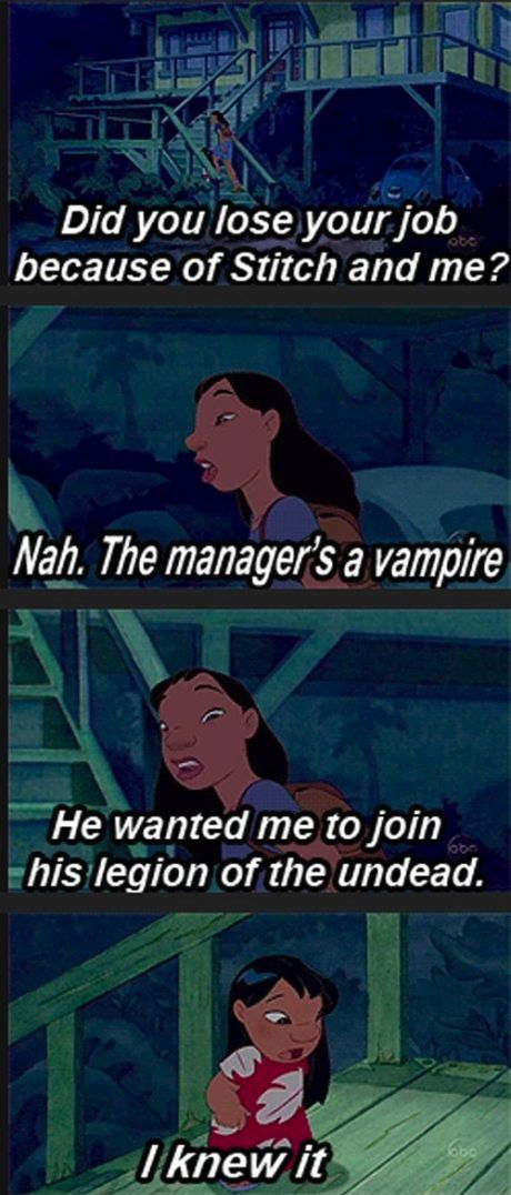 People see this and some people don't. But Nani, the entire move, she made sure Lilo's ideas and theories where CORRECT. She made sure that no of her ideas where wrong and she accepted her strange flaws. Nani got Stitch, lost her job, got into an alien mess, JUST FOR LILO! She is probably the best Disney character that acts(and looks) like a true, happy human being!