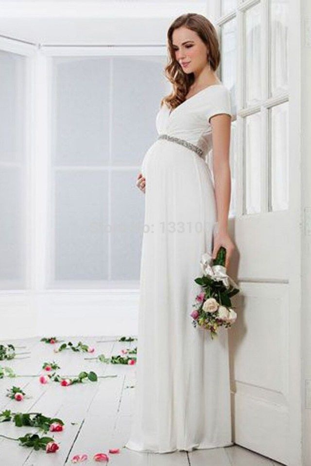elegant wedding dress for pregnant party 2016 new fashion china in simple white cotton wedding dress