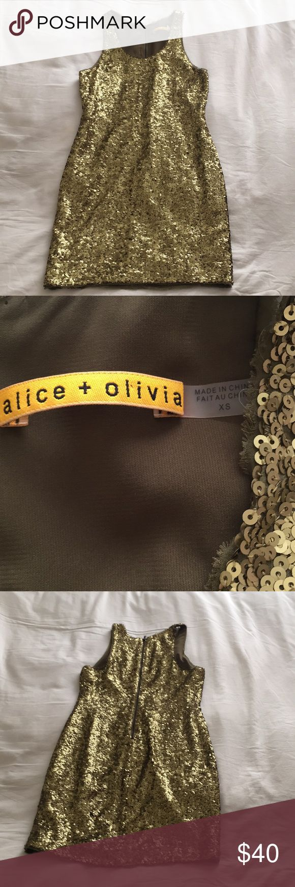 Flash Sale! NWOT Alice + Olivia Sequin Mini Priced to sell, this olive/gold sequined number is perfect for the holidays. Alice & Olivia Dresses Mini