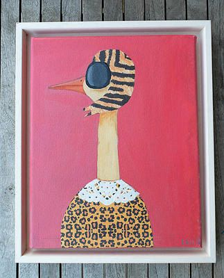 LadyBird, Original Acrylic Painting on Canvas, 30x25 cm (11.81 x 9.84 inches),  Quirky & Colorful Animal Art, Wall Art, Animal Print