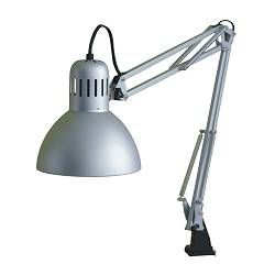TERTIAL Work lamp - IKEA  Two lamps. Take off the lamp part. Use articulated arms to support keyboard tray.