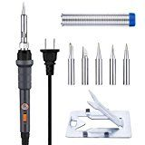 OMorc Soldering Iron with ON/OFF Switch 60W 110V Electric Soldering Iron Kit  Adjustable Temperature 5pcs Different Tips Stand Solder Wire for Variously Repaired Usage