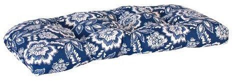 Jordan Manufacturing Outdoor Wicker Bench/Loveseat/Swing/Settee Cushion - Blue/White Geometric