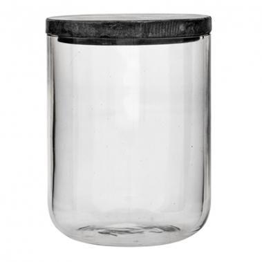 Jar w/Lid, Clear Glass w/Grey Marble Lid