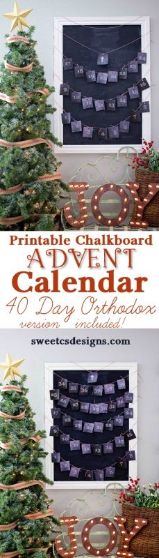 Chalkboard Printable Advent Calendars- Traditional and Orthodox Christian Versions! Just print, cut and hang for an instant advent calendar!