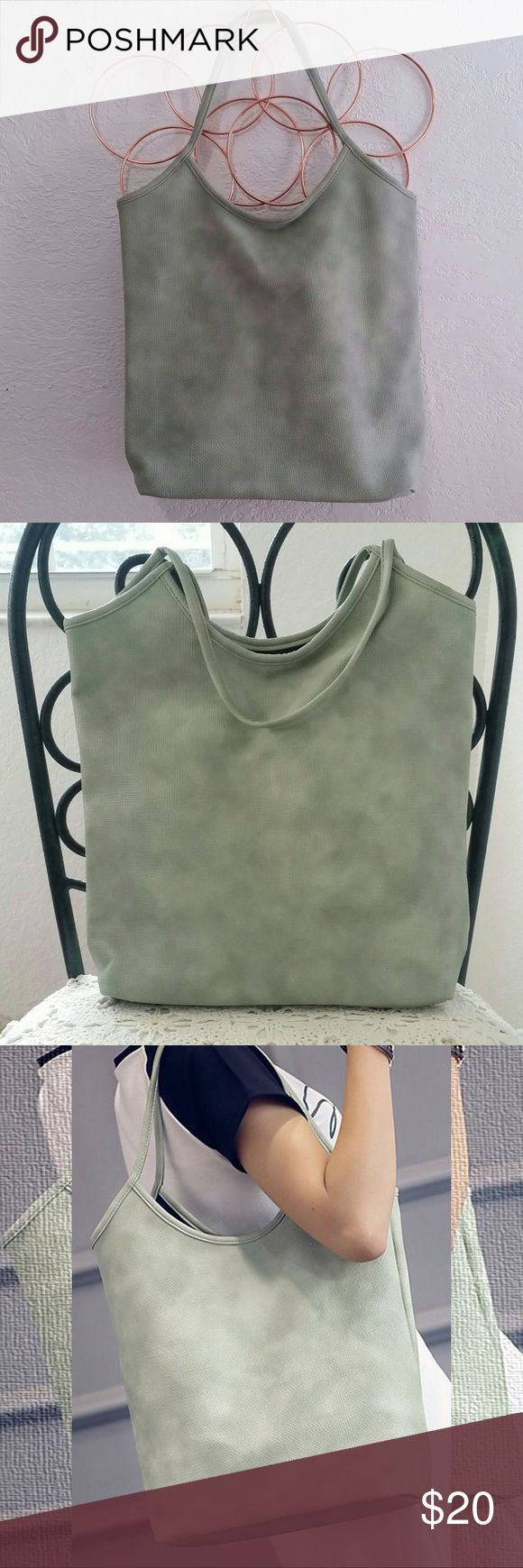 "Sage Green Tote Bag Beautiful Pebbled Faux Leather with black interior, no pockets - approx 15"" * 13"" * 5"" Firm Price Boutique Bags Totes"