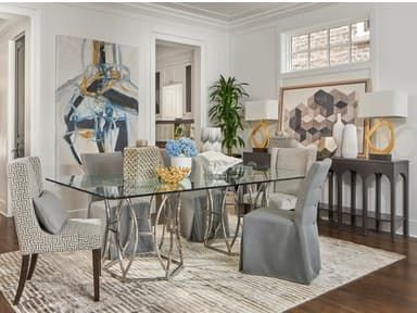 The Argent Dining Room From Jeff Lewis Collection Is Refined Stylish Look Brought To You By Team And Walter E Smithe Furniture Design
