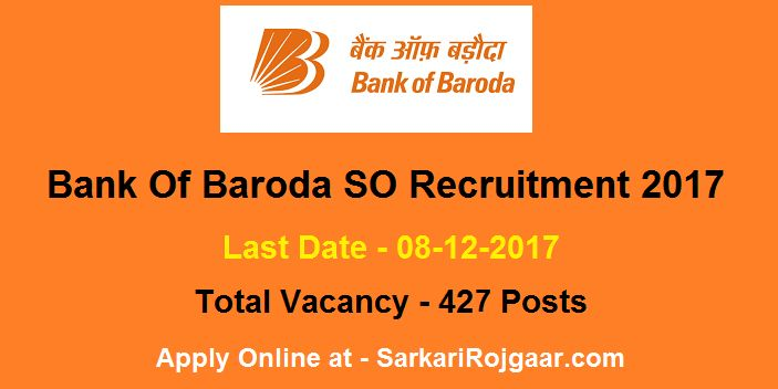 #BOB Bank of Baroda Specialist Officer #Recruitment 2017