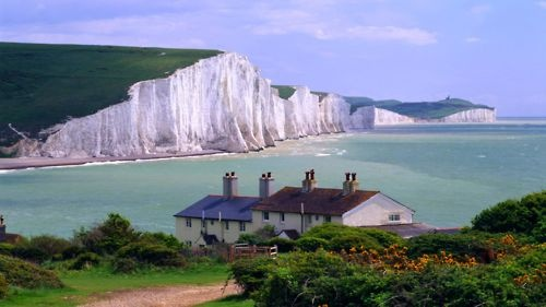 Seven Sisters Cliffs near Seaford Town, East Sussex, England.