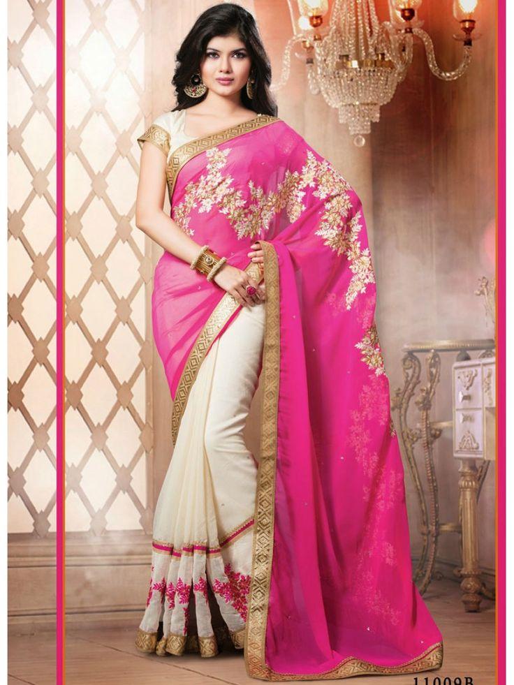 Grab Online |Pink & White Designer Half N Half Saree