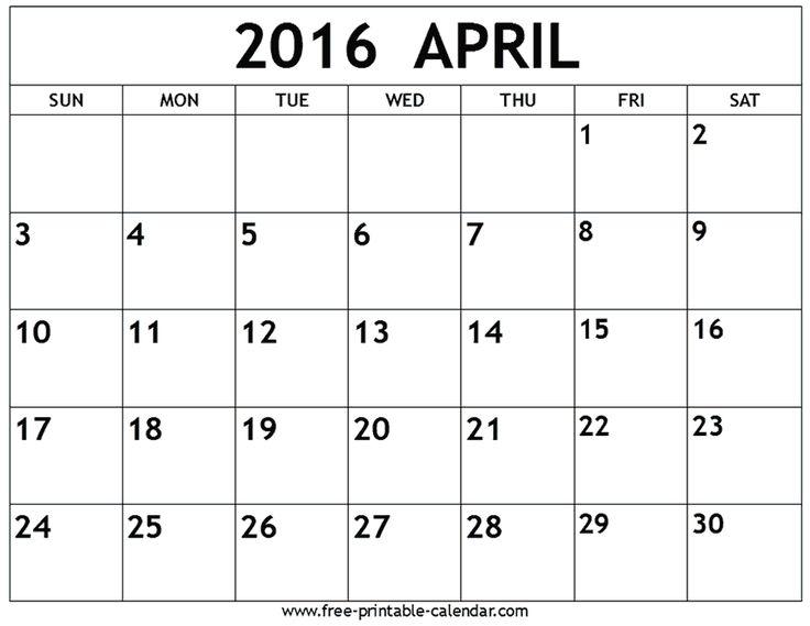 April 2016 calendar - Free-printable-calendar.com