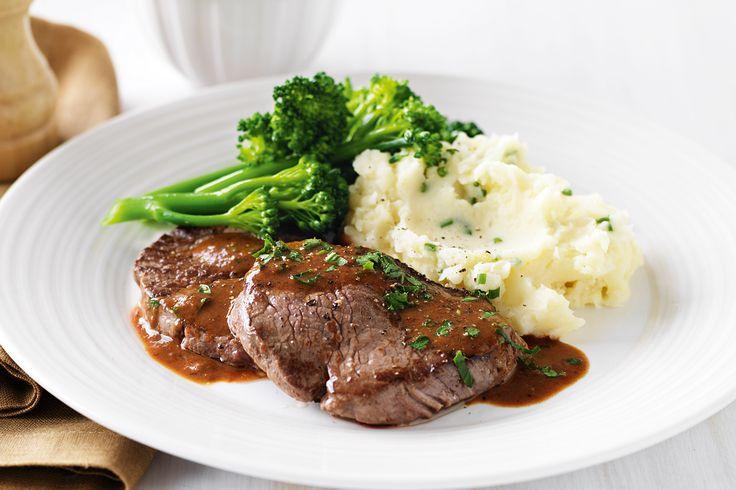 Steak diane with chive mash http://www.taste.com.au/recipes/27736/steak+diane+with+chive+mash