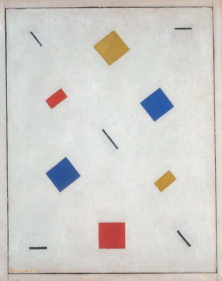Composition 1918. Bart van der Leck was a Dutch painter, designer, and ceramacist. With Theo van Doesburg and Piet Mondrian he founded the De Stijl art movement. Son of a house painter, he started his career learning how to make stained glass in a shop in Utrecht.