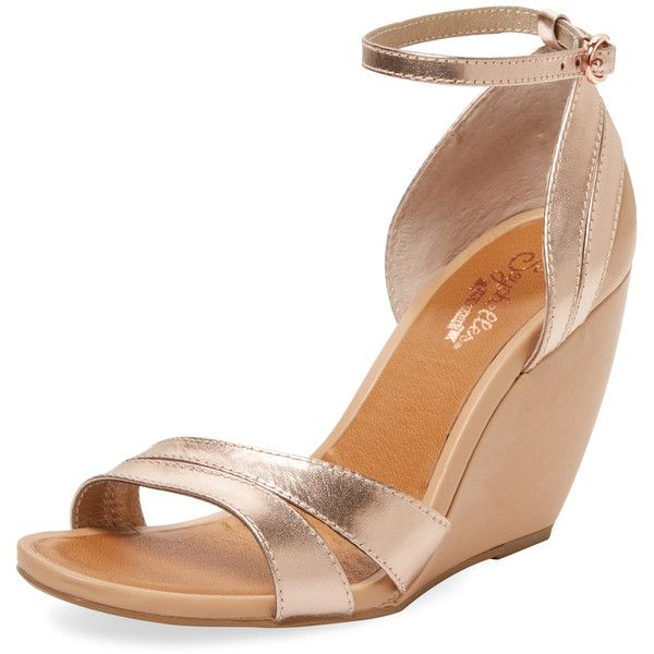 Seychelles Women's Choice Two-Piece Wedge - Gold, Size 10 (945 MXN) ❤ liked on Polyvore featuring shoes, sandals, gold, gold wedge shoes, wrap around sandals, ankle wrap wedge sandals, gold sandals and ankle tie sandals
