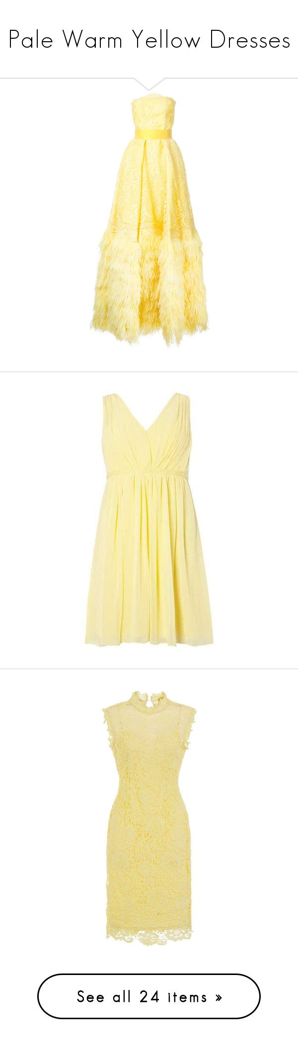 """Pale Warm Yellow Dresses"" by tegan-b-riley on Polyvore featuring dresses, gowns, yellow, floral two piece, beige cocktail dress, yellow cocktail dress, beige dress, chiffon cocktail dress, chiffon dress and lemon"