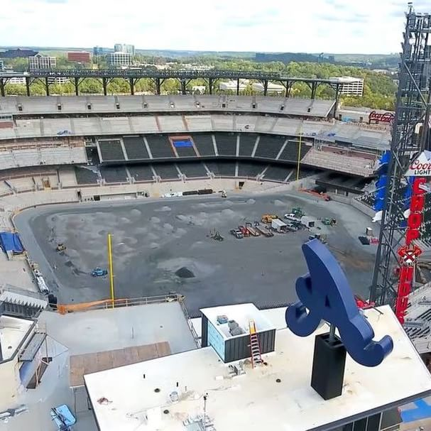 Check out the latest views from above @suntrustpark and @batteryatl!