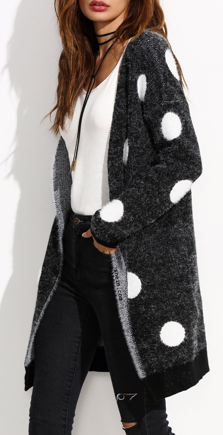 Black polka dot open front long sweater coat.