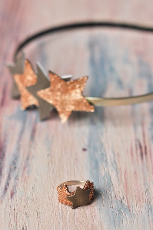 DIY - Glittered & gilded leather star headband + ring, via Carnets Parisiens