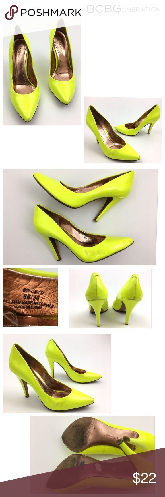 """BCBGeneration Neon Yellow Pointed Toe Pumps BCBGeneration  Style: Cielo  Bright Neon Yellow Pointed Toe High Heel Pumps  Women's Size 6 B Pre Owned Heels, in Good Shape  1/2"""" cut on side of right heel-Shown in Photo Has Some Scuffing- All Shown in Photos   Heel Height: 4"""" Original Box is Not Included       Item comes from a pet free/smoke free clean environment please contact me for any additional questions BCBGeneration Shoes Heels"""