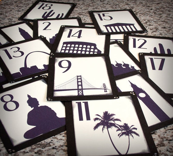 """""""travel table numbers of the places you've been together""""  Pyramids, Petra, Lebanon, Aix-en-Provence (bottle of wine), Arches, Yellowstone (buffalo), etc.  Labels in English, Morse Code, and Arabic.  Would also work with travel posters."""