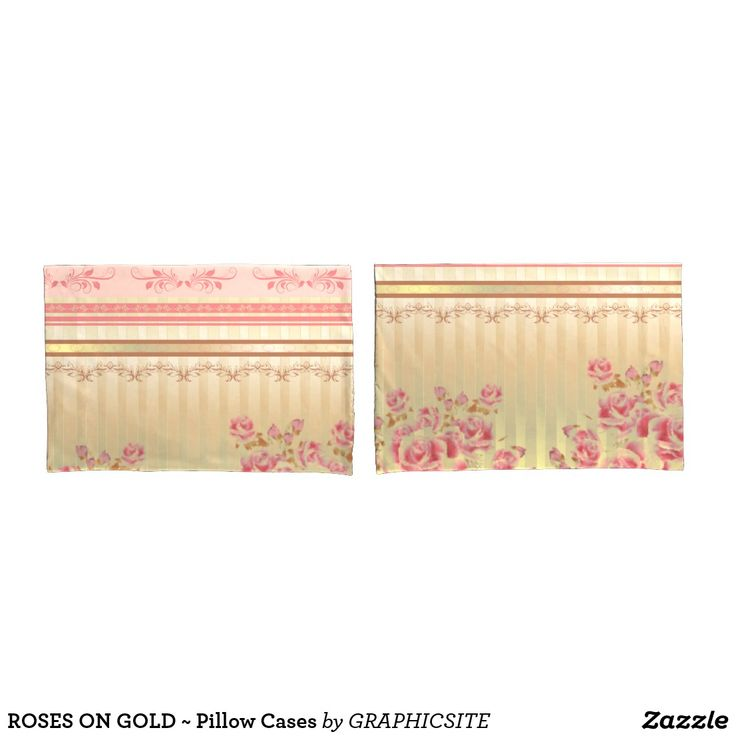 ROSES ON GOLD ~ Pillow Cases