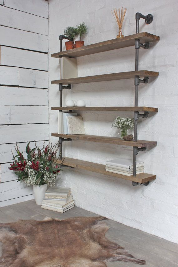 Bespoke Reclaimed Scaffolding Boards and Dark Steel Pipe Wall Hung Shelving/Bookcase - made to order urban furniture by www.inspiritdeco.com...