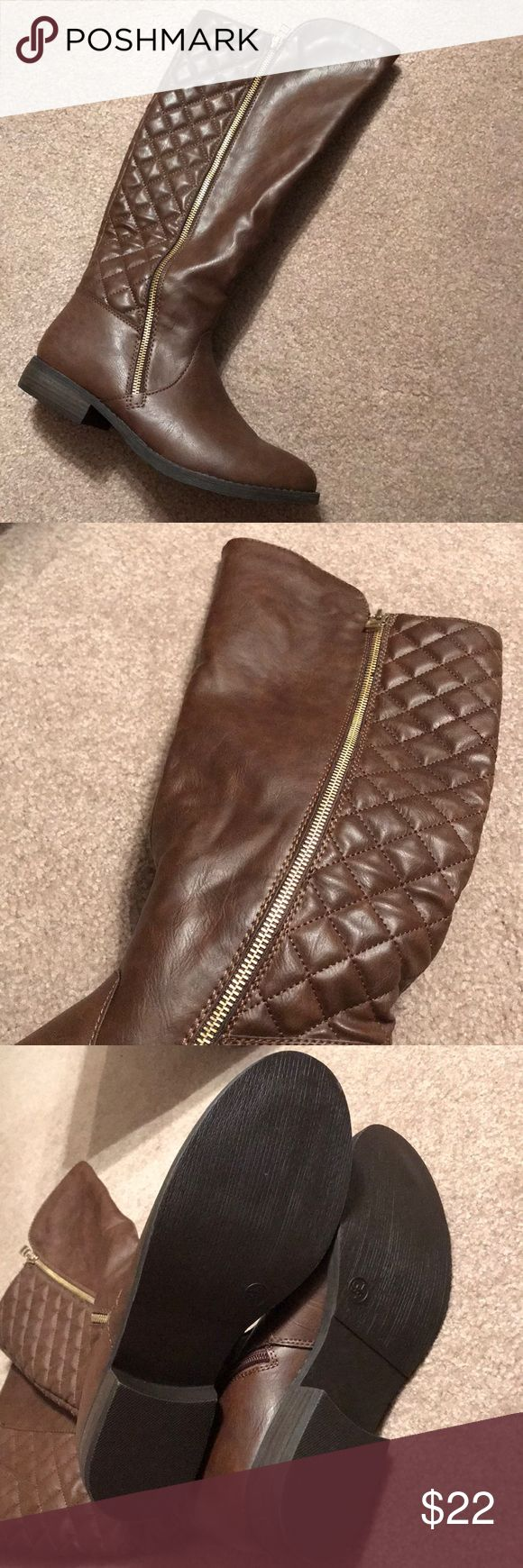 Target boots Brown target boots with gold zipper. Worn maybe once. Merona Shoes Heeled Boots