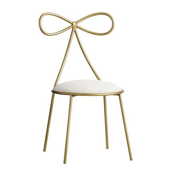 PB Teen The Emily & Meritt Bow Chair, Gold/Ivory (£205) ❤ liked on Polyvore featuring home, furniture, chairs, off white furniture, cream chair, antique white furniture, egg shell chair and beige furniture