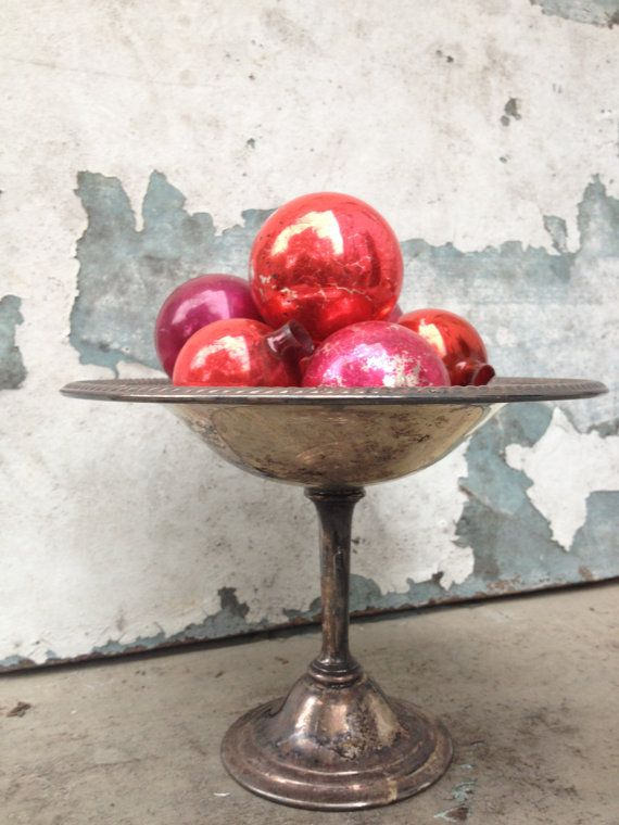 Vintage Silver Pedestal Dish/Christmas Decor/Holiday Decor/Macabre Decorating/Shabby Chic Decor/Fuschia/Red/Pink on Etsy, $14.00