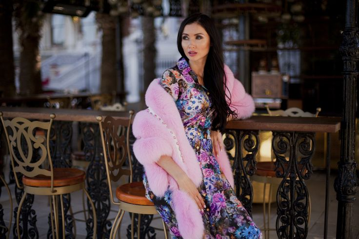 Pink and soft fox fur shawl with Swarovski crystals, get the same at #ADAMOFUR stores