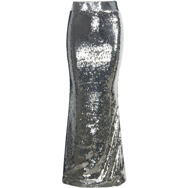 Silver Sequined Maxi Fishtail Skirt ($41) ❤ liked on Polyvore featuring skirts, long silver sequin skirt, long silver skirt, sequin maxi skirt, long maxi skirts and embellished maxi skirt