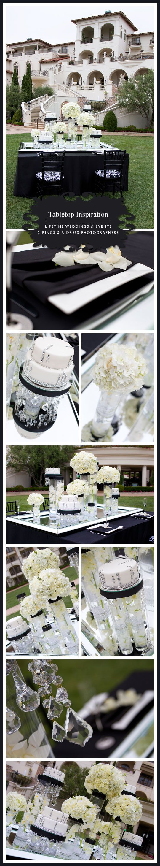 Sparkling crystals paired cymbidium orchids, hydrangea, roses and lisianthus and beautiful black accents fashions a formal, yet inviting table.    {Floral Design, Linens, Rentals} Lifetime Weddings & Events  {Location} St. Regis Monarch Beach, Dana Point  {Photography by} 2 Rings and A Dress – Photographers