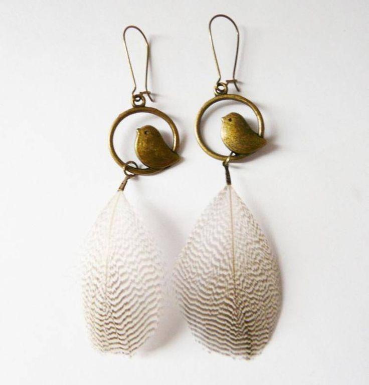 Boucles d'oreilles plumes et oiseaux - boucle d oreille percée - Hënnë Bijoux - Fait Maison