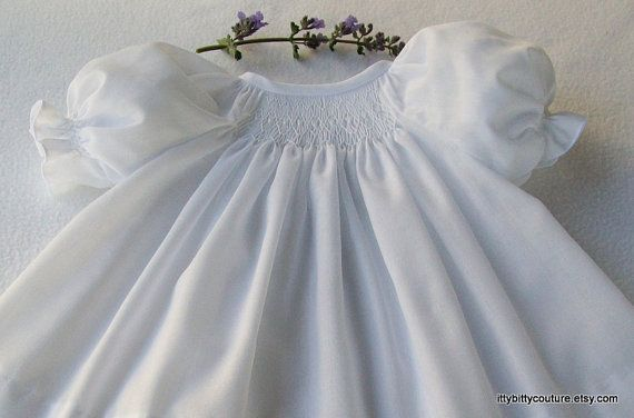 Hand smocked Baby Girl baptismal by ittybittycouture, $75.00