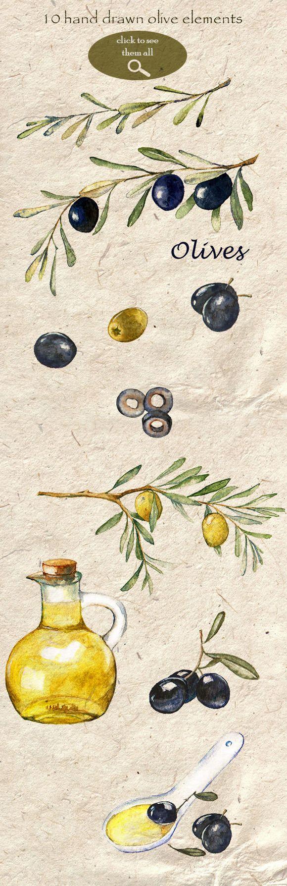 Watercolor Olive Set by Anastasia Nio on Creative Market